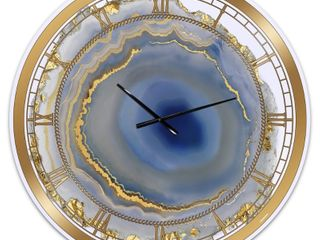 Silver Orchid 38  Arbuckle  Golden Water Agate  Oversized Fashion Wall Clock   Retail 161 49