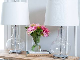 Ellis Clear Glass 23 5 inch Table lamp  Set of 2