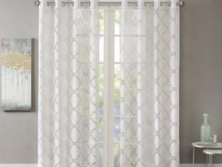 Madison Park laya Fretwork Burnout Sheer Curtain Panels   50  x 63    Set of 2