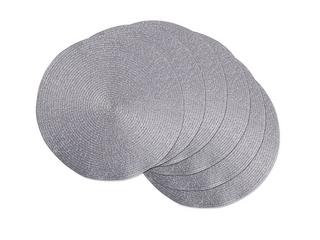 Design Imports Round Woven Metallic Silver Polypropolene Kitchen Placemat Set  Set of 6