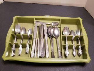 Silverware in tray