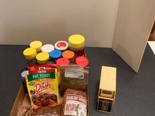 Assorted spices and scale