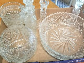 Glass bowls  candleholder and cruits