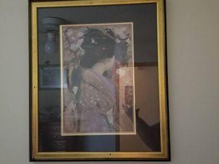 Japenese lady framed artwork 26 x 22