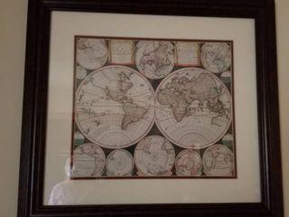 World map print 21 1 2 x 24