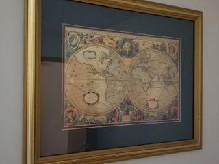 World map print 18 1 2 x 22 1 2
