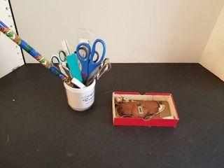 Scissors and vintage glasses