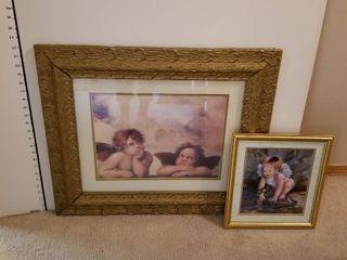 Set of 2 angel prints framed