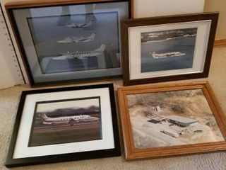 Framed aircraft pictures set of 4
