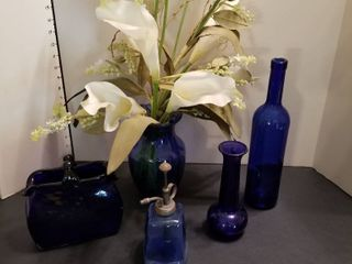 Assortment of blue vases