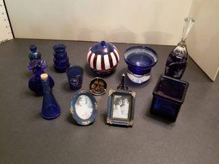 An assortment of blue decor