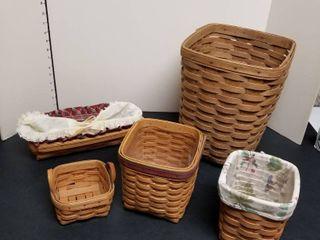 5 longaberger baskets