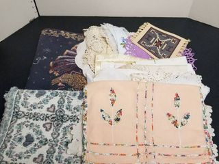Assortment of table runners and doilies