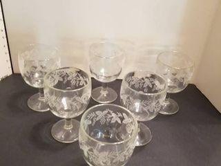 Set of 6 grape decor glasses