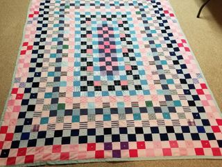 Pink and blue checked quilt 5 ft by 7 ft