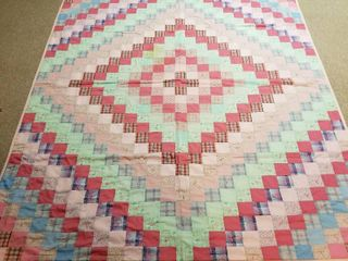 Pink green and blue quilt approx 7 by 6