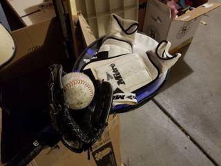 Sports equipment  hockey sticks  tennis racket  ball and mitt