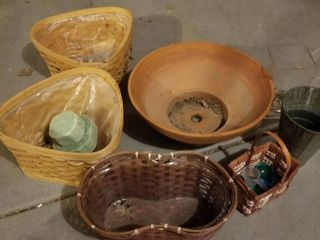 large clay pot and baskets