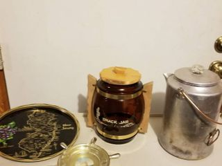 metal coffee pot  glass snack jar  tray and ashtray