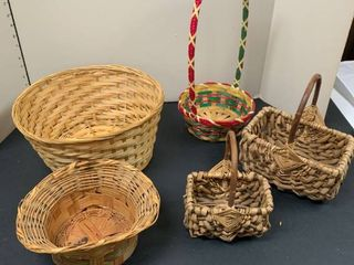 Set of five baskets three with handles