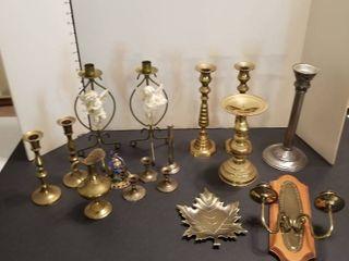 An assortment of brass items