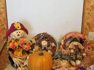 Fall wreaths and pumpkin