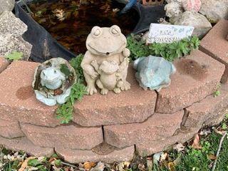 Set of three outdoor frogs