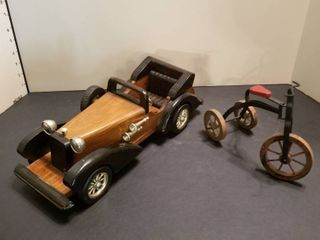 Antique wooden car and tricycle