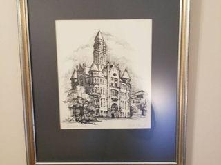 Charcoal drawing of City Hall Wichita by David litau