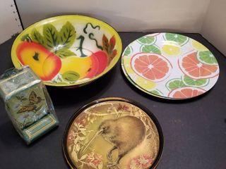Plates  bowls and matchbox holder