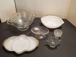 Assorted bowls and glass pieces