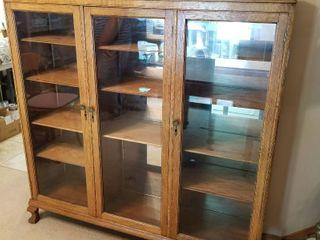 Antique curio hutch w wood shelves 53 x 54 x 14