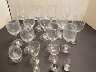 15 glasses with 2 shot glasses