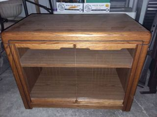 Rolling Wooden TV Stand with Glass Doors 23 x 28 x 17 in