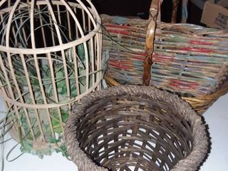 Wicker Baskets and Birdcage Decor