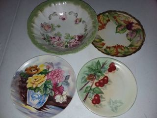 Handpainted Porcelain Plates and Bowl