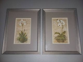 Floral Framed Wall Decor lot of 2