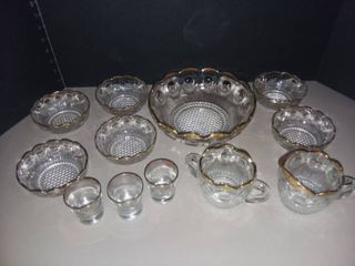 Gold Rimmed Glass lot of 12