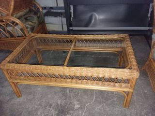 Braxton Culler Furniture Wicker and Glass Top Coffee Table 18 x 44 x 24 in