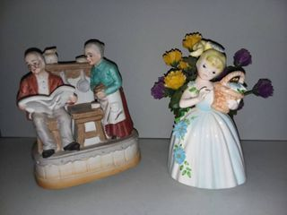 Old Couple Music Box with Porcelain Girl Decor