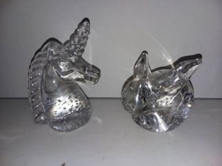 Unicorn and Bunny Glass Paperweights
