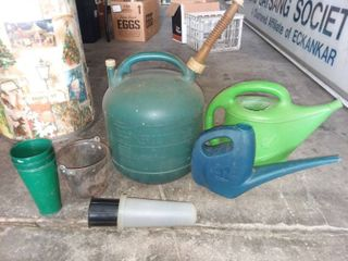 5 Gallon Kerosine Can with Watering Cans and Flower Pots
