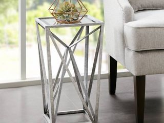 Silver Orchid Allison Silver Angular Mirror Accent Table Retail 81 99