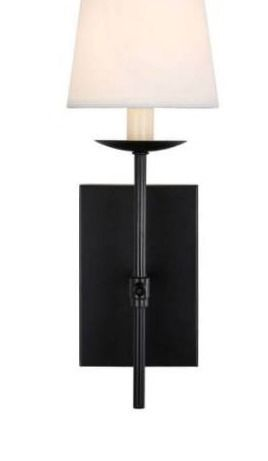 One 1 light Forged Black Sconce With White Fabric Shade Wa101 In Sn