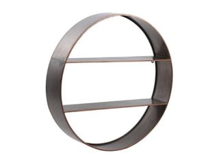 Round Metal Wall Shelf with 2 Tier Storage and Copper Edges  Bronze Retail 98 49