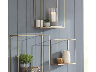 Signature Design by Ashley Efharis Natural Gold Finish Wall Shelf   Set of 3
