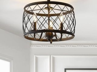 Eleanor 15  3 light Metal lED Semi Flush Mount Ceiling light  Antiqued Gold by JONATHAN Y Retail 139 49