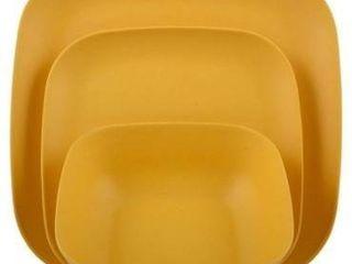 Melange 12 pcs Bamboo Dinnerware Set squares Collection  Yellow