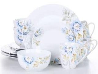 16 Piece White Pattern Porcelain Dinnerware Plates and Bowls Set Mugs