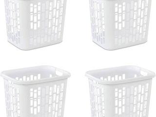 Case of 4 White Sterilite Rectangular lift Top laundry Hampers